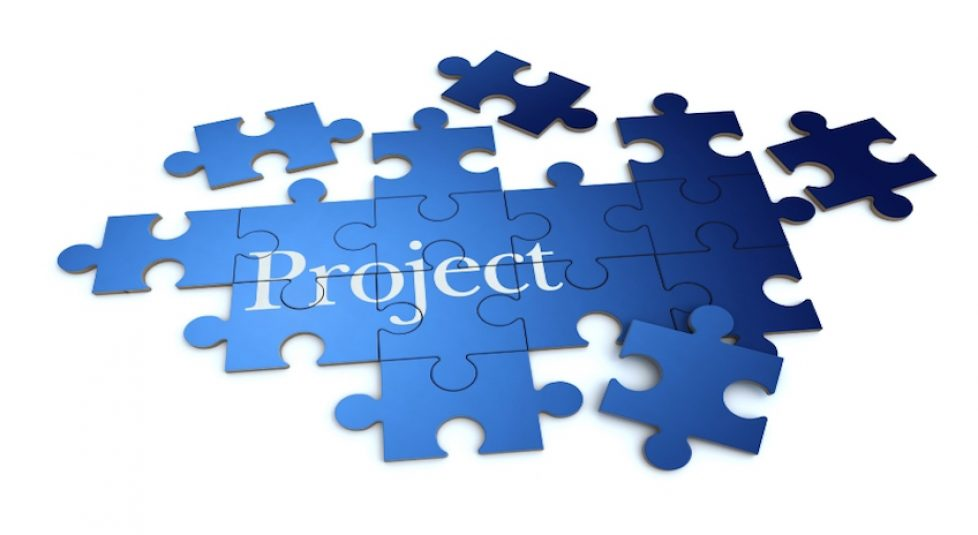 Project puzzle in blue